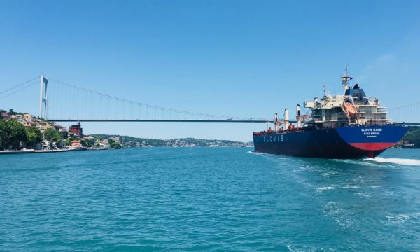 cargo ship on the Bosphorus