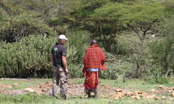 CABI's Dr Arne Witt with a Masai man in Laikipia, Kenya, an area severely affected by invasive Opuntia.